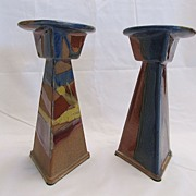 Arts & Crafts Style Stoneware Candlesticks