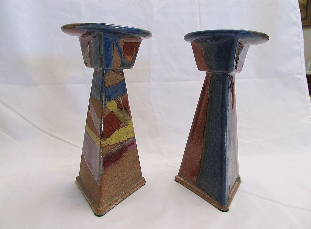 Arts & Crafts Style Stoneware Candlesticks