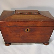 SALE Antique Victorian English Mahogany Tea Caddy