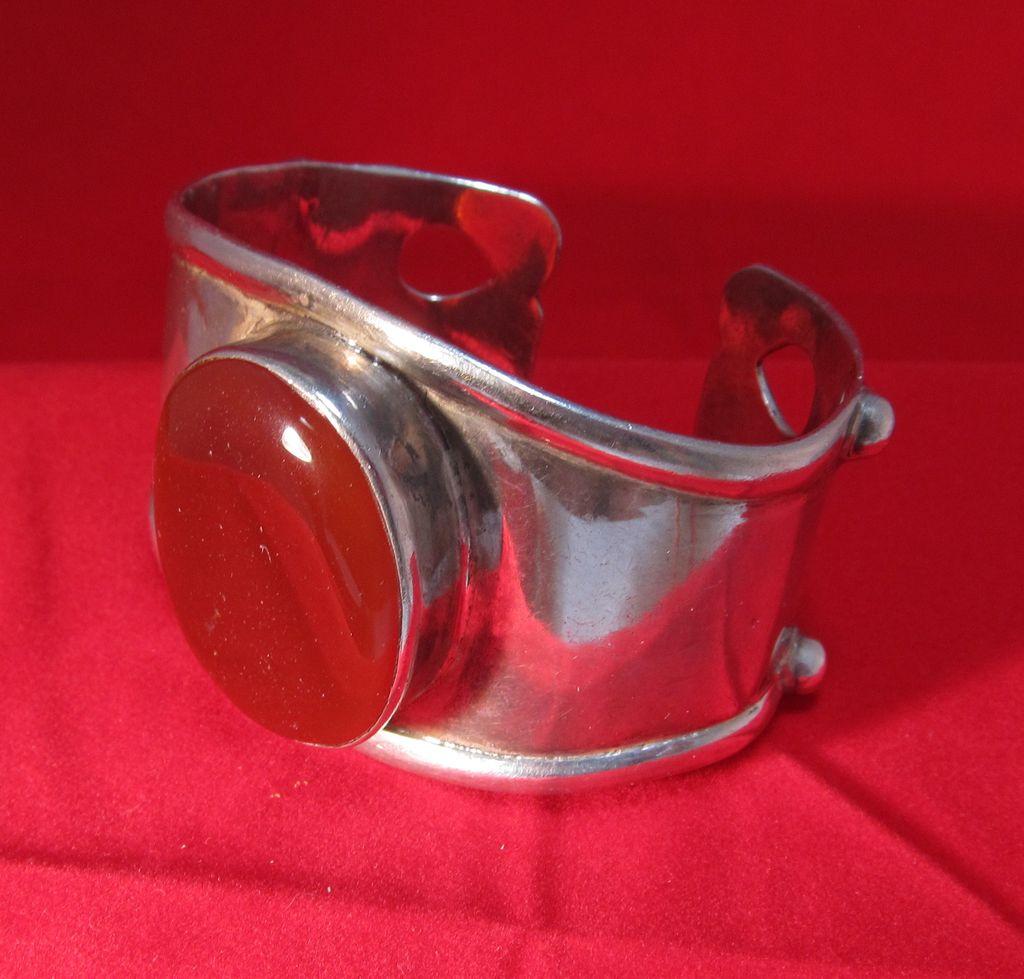 Afghan Sterling Bangle Bracelet Carnelian Cabochon