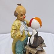 SALE Ceramic Clown and Seal Figure