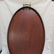 SALE Swastika inlaid tray from India