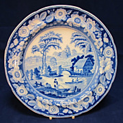 Early Blue Willow English Dinner Plate Transfer Printed