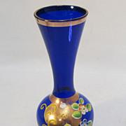 Petite Cobalt Enameled Floral Glass Vase