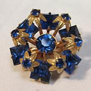 SALE Cobalt  Glass Gilt Brooch