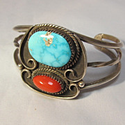 Navajo Sterling Turquoise Coral Cuff Bracelet