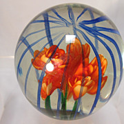SOLD Floral Glass Paperweight