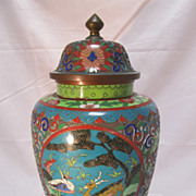 SALE Chinese Cloisonne  Covered Jar