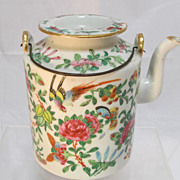 Old Chinese Famille Rose Porcelain Teapot