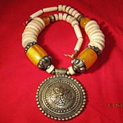 SALE Tribal Brass & Amber Bone Necklace