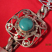 SALE Sterling and Turquoise Openwork Bracelet
