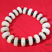 SALE Chinese Celadon Jade Disc Bead Bracelet