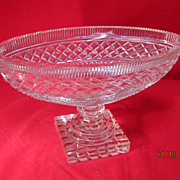 SALE Vintage Cut Crystal Oval Bowl