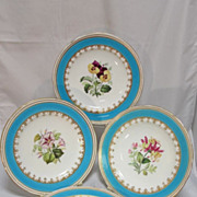REDUCED Four Minton Floral Porcelain Cabinet Plates