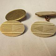 English Art Deco 9K Gold Cuff Links