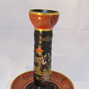 REDUCED Carlton Ware Chinoiserie Porcelain Candlestick
