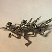 Faux Turquoise Roadrunner Pin