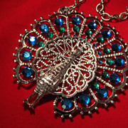SOLD Classy Silver Tone Peacock Necklace by Gold Crown