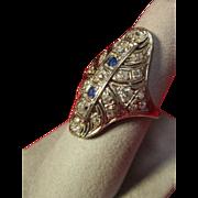 14K Art Deco Diamond and Sapphire Ring