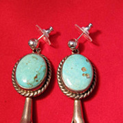 SALE PENDING Vintage : Native American Style Squash Blossom Earrings