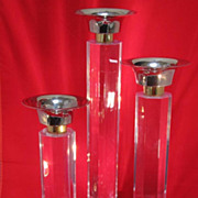 SALE Tall Set of Lucite Candlesticks