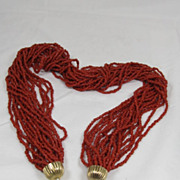 Coral Multi Stand Bead Necklace