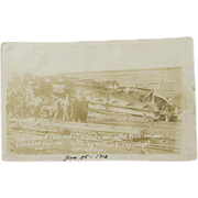 Railroad Train Wreck Post Card