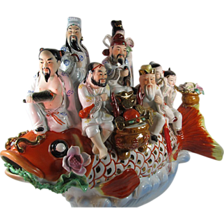 SOLD Large Whimsical Chinese Porcelain Figural Group on a Koi
