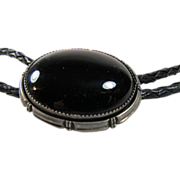 SOLD Navajo Onyx Sterling Bolo