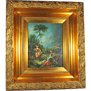 Oil Painting on Board of Figural Scene