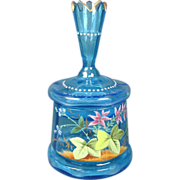 Enameled Blue Glass Dresser Jar