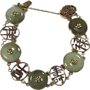 SALE Chinese Gold And Jadeite Bracelet