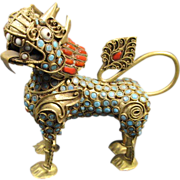 Asian Brass Lion/Dog with Turquoise and Coral