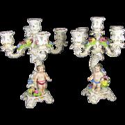 Pair German Von Schierholz Porcelain Candelabra