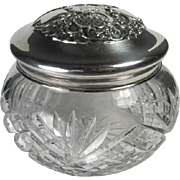 Antique English Sterling Crystal Dresser Vanity Jar