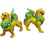 Two Porcelain Sancai Glazed Foo Lions/Dogs