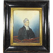 Antique  Watercolor Portrait of A Gentleman