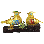 Pair Gilt Metal Birds on Stand