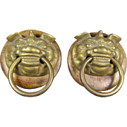 Pr Brass Foo Dog/Lion Pulls