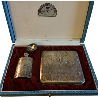 T Muto Silversmiths 950 Sterling Silver Perfume & Compact