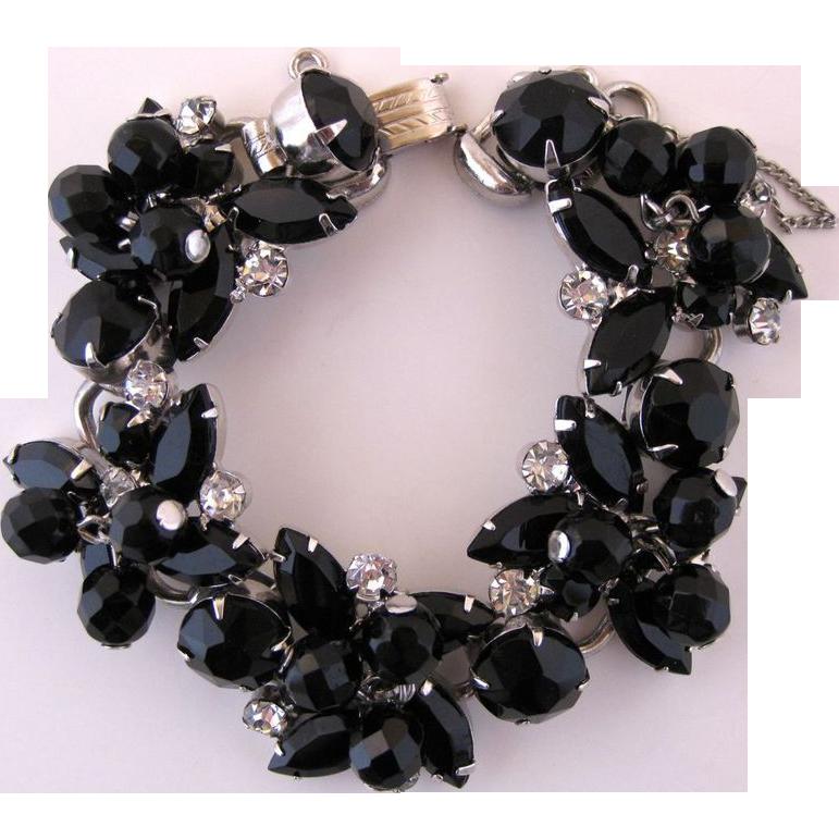 Vintage Juliana Black Glass and Clear Rhinestone Bracelet