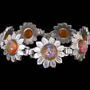 Vintage Dragons Breath Jelly Opal Daisy Chain Link Bracelet