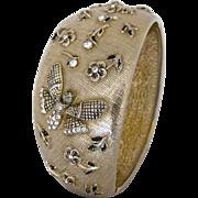Vintage Castlecliff Wide Gold Tone Butterfly Clamper Bracelet