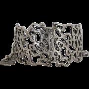 Vintage Mid Century Modernist Abstract Design Large Link Bracelet