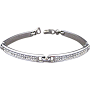 Vintage Christian Dior Pave Set Clear Rhinestone Link Bracelet