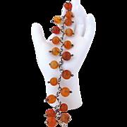 Vintage Handmade Agate Bead And Silver Bracelet