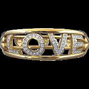 SALE Vintage Swarovski LOVE And Heart Clear Rhinestone Hinged Bracelet