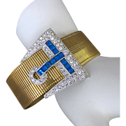 Vintage Art Deco Rhinestone Buckle Gold Metal Bracelet Attributed To Mazer