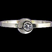 Vintage Karl Laine Sterling and Spinel Modernist Bangle Bracelet