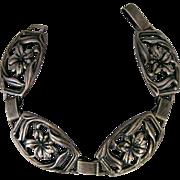 Vintage Sterling Silver Floral Panel Bracelet By Danecraft